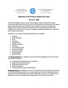 Welcome Pamphlet for new clients_Primary Care